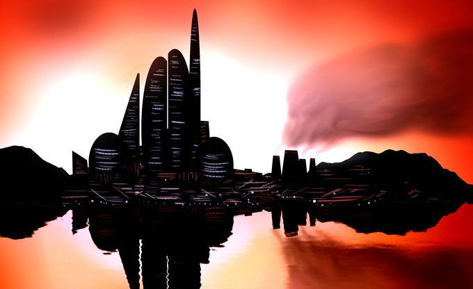Eine Stadt und ein Sonnenuntergang.